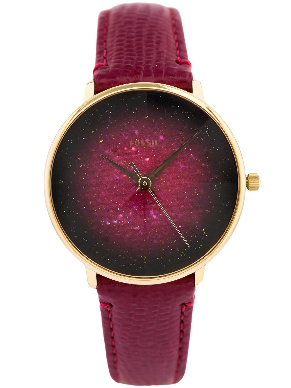 zegarek damski fossil z czerwona tarcza